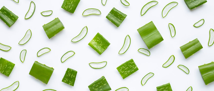 Aloe Vera leaves cut pieces with slices on white