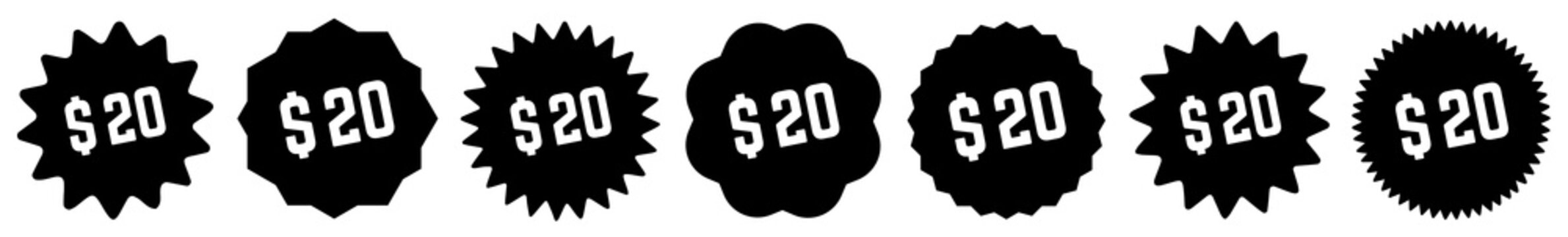 20 Price Tag Black | 20 Dollar | Special Offer Icon | Sale Sticker | Deal Label | Variations