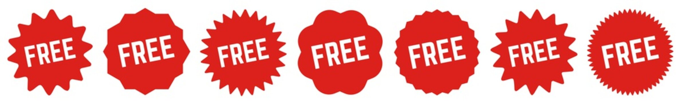 Free Tag Red | Special Offer Icon | Sticker | Deal Label | Variations
