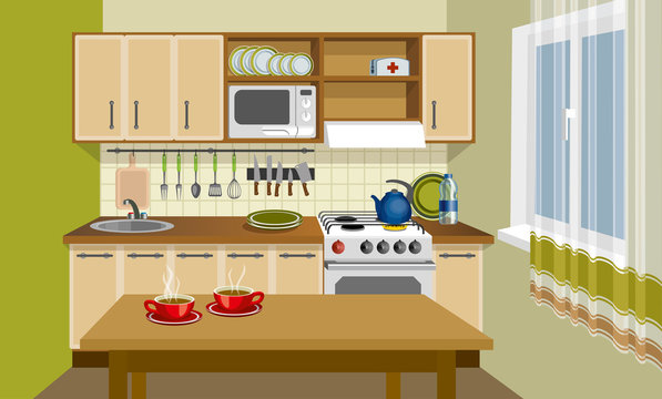 Kitchen interior in vintage style vector illustration.