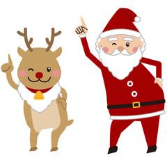 クリスマス 踊るサンタとトナカイ 指差し