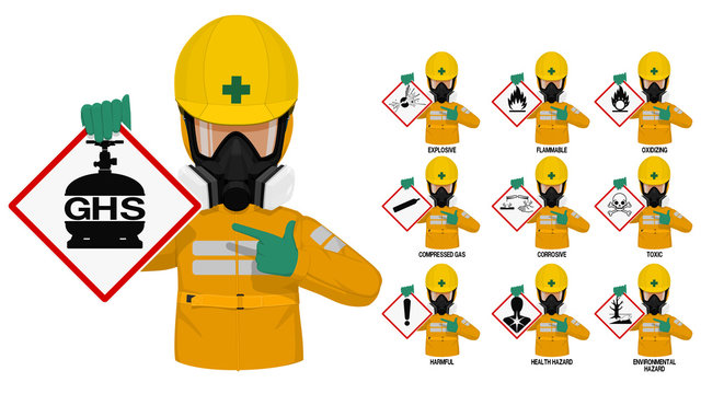 Set of industrial man in yellow chemical protective suit presents the GHS pictogram.