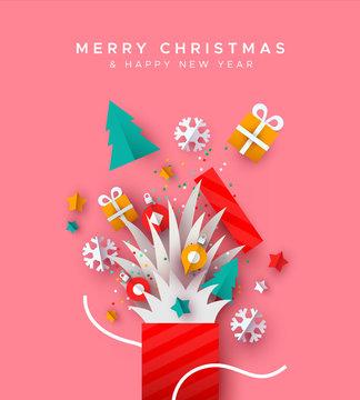 Christmas New Year holiday paper cut gift box card
