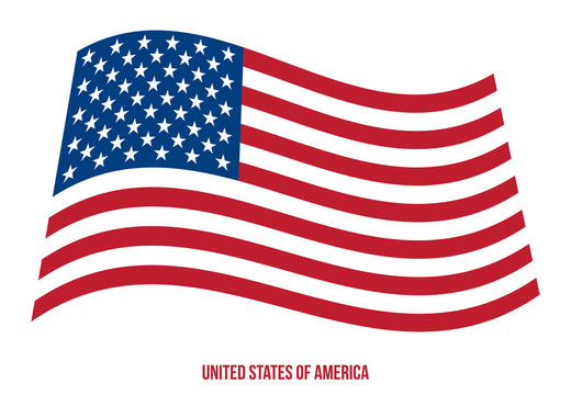 United States of America Flag Waving Vector Illustration on White Background.