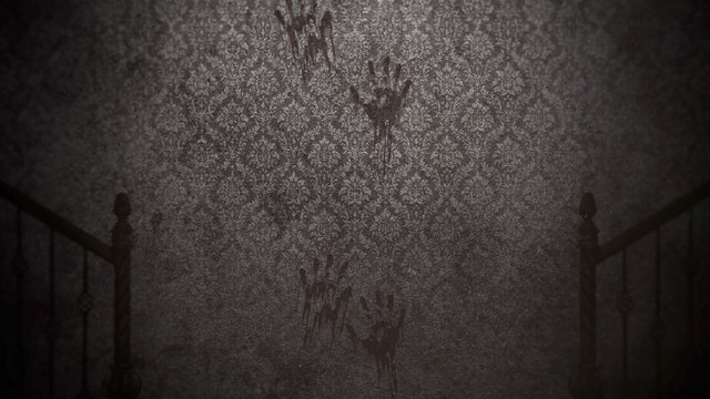 Mystical horror background with dark hall of room.
