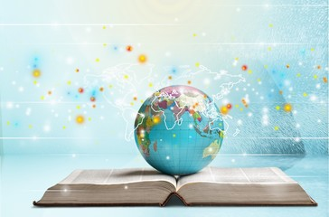 School stationery composition. globe on table and book