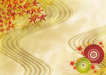 紅葉:もみじ 落ち葉 秋 枯れ葉 流線 線 京都 和風 和柄