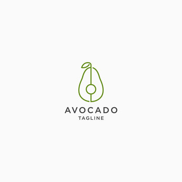 Avocado Logo With Line Style Icon Design Template Vector Illustration