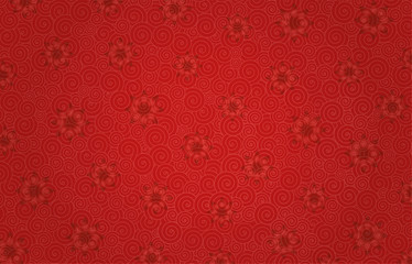 Red flowers on a red-pink background with whirlpool patterns. Free space. Greeting card.