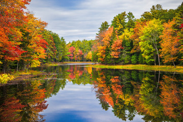 Foto auf Acrylglas Wasserfalle Colorful foliage tree reflections in calm pond water on a beautiful autumn day in New England