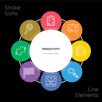 8 productivity concept stroke icons infographic design on black background