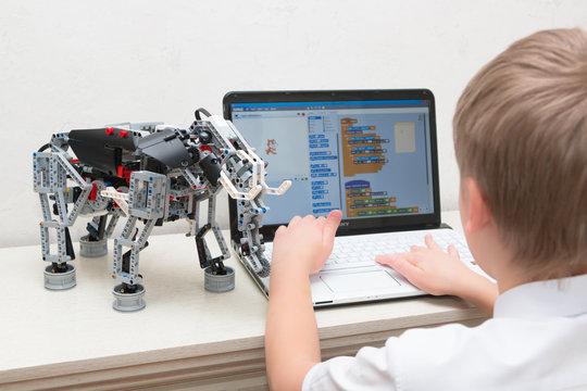 Minsk, Belarus. October, 2017. Boys construct and code robots. Lego Mindstorms EV 3 robot. STEM education.  Robotics class for child and teen. STEAM. Mathematics. Science. Technology. Art.