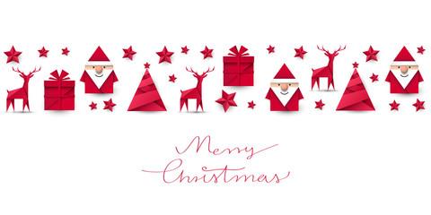 Święty Mikołaj, renifer, choinka i prezent origami. Kartka z życzeniami wektor.