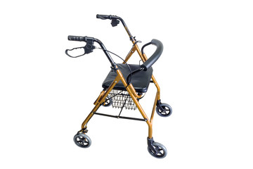 Four wheel walker rollator with hand brakes and fold up back support isolated on white background with clipping path.