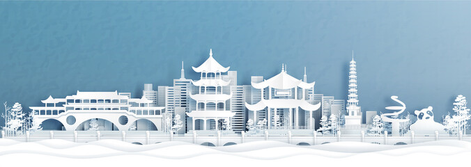 Fototapete - Panorama view of Chengdu skyline with world famous landmarks of China in paper cut style vector illustration.