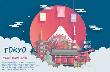 Fototapete - Travel poster of world famous landmarks of Tokyo, Japan in paper cut style vector illustration