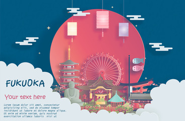 Wall Mural - Travel poster of world famous landmarks of Fukuoka, Japan in paper cut style vector illustration