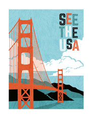 Retro style travel poster design for the United States.  Scenic image of Golden Gate Bridge. Limited colors, no gradients.