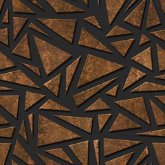 Bronze metallic triangle seamless texture, 3D illustration, 3d panel