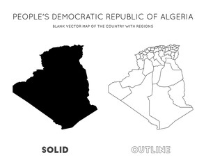 Algeria map. Blank vector map of the Country with regions. Borders of Algeria for your infographic. Vector illustration.