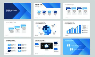 set blue creative power point presentation template design template