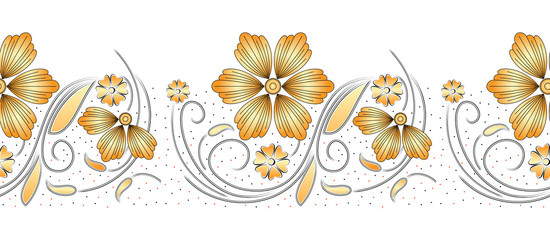 Seamless golden floral border on white background