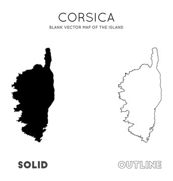 Corsica map. Blank vector map of the Island. Borders of Corsica for your infographic. Vector illustration.