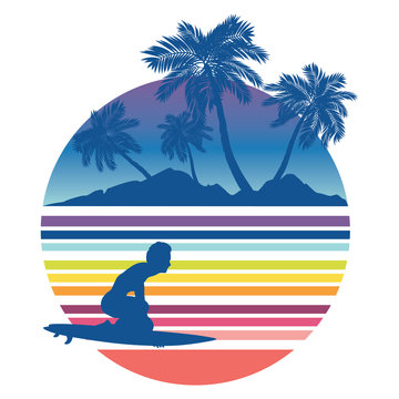 Waves and surfer silhouette