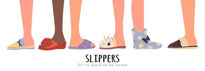Set of different slippers. illustration with slippers on the feet