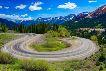 Hairpin bend along the San Juan Skyway