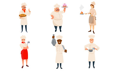 Chef Characters In Different Poses With Their Specialties Vector Illustration Set Isolated On White Background