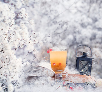 Gentle autumn winter still life with sea buckthorn tea and fluffy white flowers similar to snow. Artistic gentle calm photo.