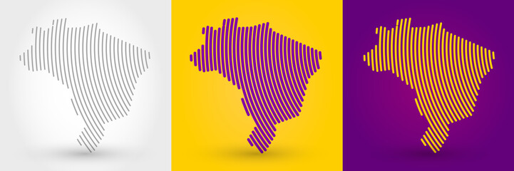 Striped map of Brazil Wall mural