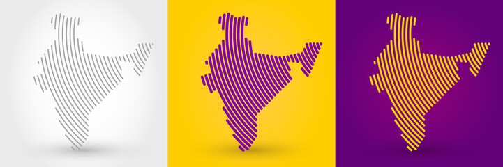 Striped map of India