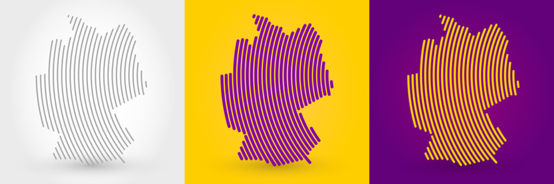 Striped map of Germany