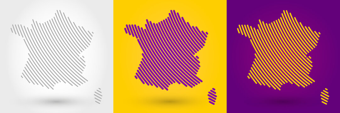 Striped map of France