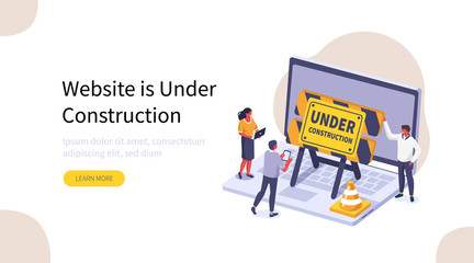 People Characters Standing near Laptop and Developing Web Site. Woman and Man placing Barrier Symbol. Coming Soon and Website is Under Construction Concept Page. Flat Isometric Vector Illustration.