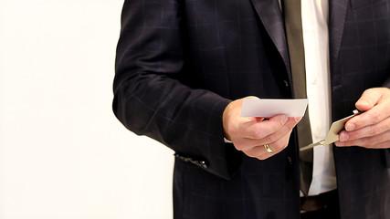 Obraz biznesmen,businessman,wizytówka, business card, garnitur, suit - fototapety do salonu