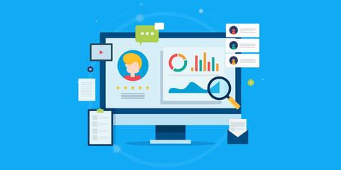 Customer profile analysis, client database, crm system, customer management, business development concept. Flat design web banner template.