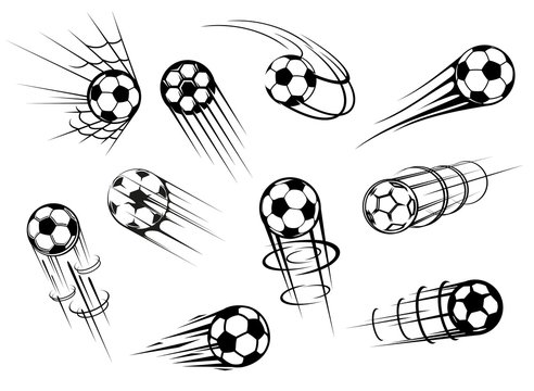 Football and soccer sport flying ball icons