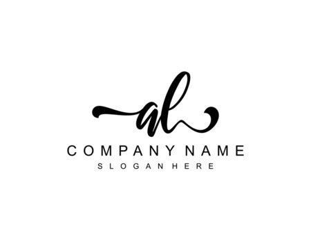 AL Initial Handwriting logo template vector