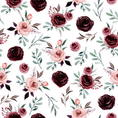 Seamless background, floral pattern with watercolor flowers pink and burgundy roses. Repeat fabric wallpaper print texture. Perfectly for wrapped paper, backdrop.