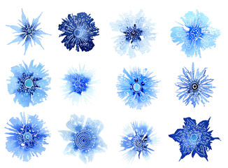 Set of fantasy stylized blue flowers hand drawn in watercolor isolated on a white background. Winter watercolor illustration. Fantasy winter flowers. Winter design. Abstract flowers