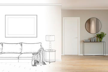 Sketch of modern living room interior with sofa, mock up poster became a real interior. 3d illustration