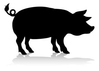 A farm animal silhouette of a pig