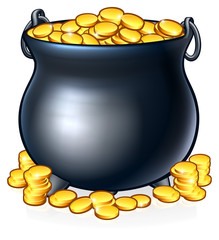 A pot of gold coins like you might find at the end of a rainbow