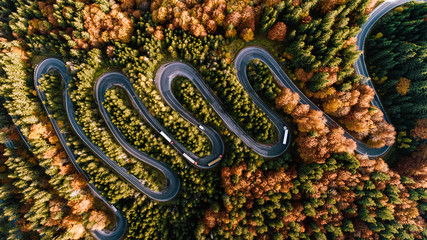 Aerial view of moving trucks on curvy road. Transportation concept