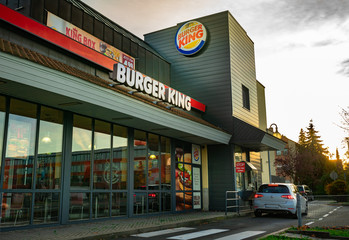 Nuremberg, Germany - October, 2019: View of drive in of fast food store Burger King