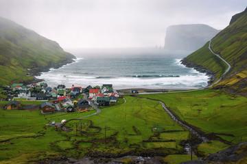 Wall Mural - Village of Tjornuvik in the Faroe Islands, Denmark