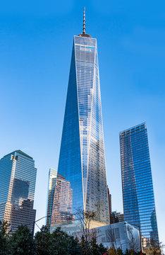 New York City, USA, One World Trade Center building. Cruise ship leaving Palm Beach, Florida, USA. Travel Editorial Illustrative Image